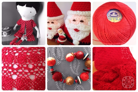 collage of red crochet and other red craft items