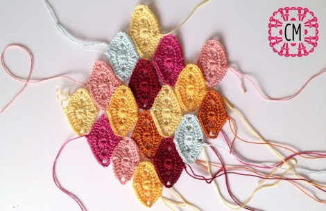 group of diamond crochet motifs